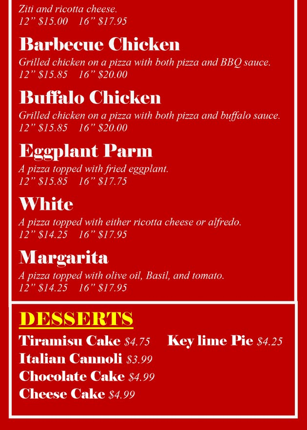 Page 6-2 One Guy Gourmet Pizza and Dessert Menu.
