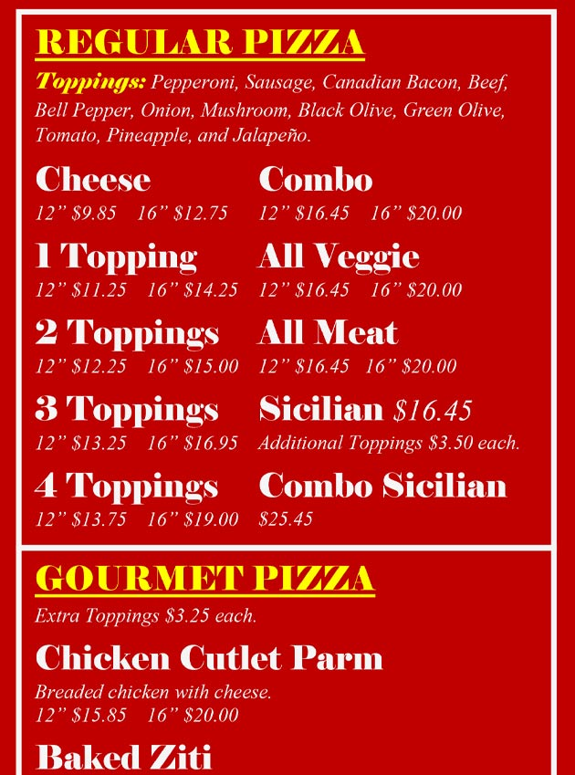 Page 6 One Guy Regular Pizza Menu.